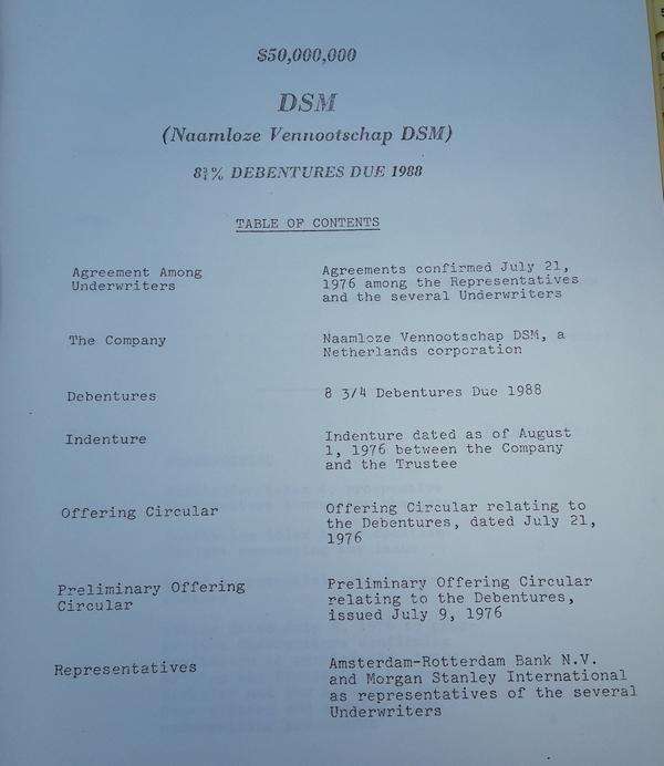 DSM - 8,75 % debentures due 1988