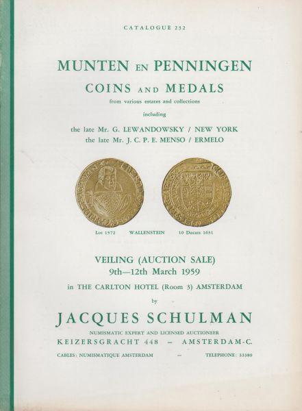 Fa. J. Schulman - Schulman veilingcatalogus 232 9-12 maart 1959 - Munten en penningen a.o. G. Lewandwsky New York em mr J.P.E. Menso Ermelo