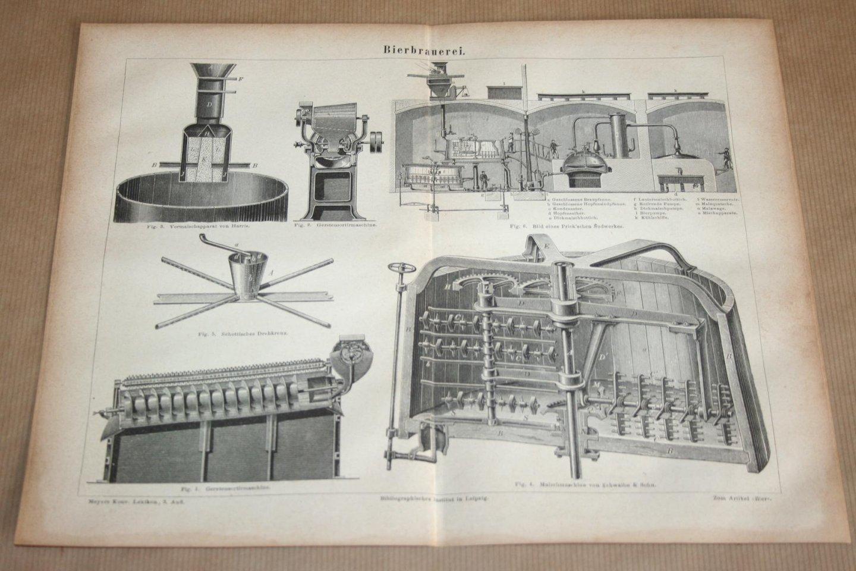- Antieke prent - Bier brouwen / Bierbrouwerij - Circa 1875