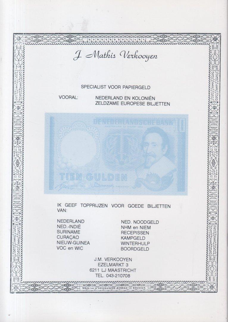 Verkooyen, drs J.M.H.F.M. - Catalogus van de plaatsvervangende biljetten van Nederland. Catalogue ot the replacement notes of the Netherlands