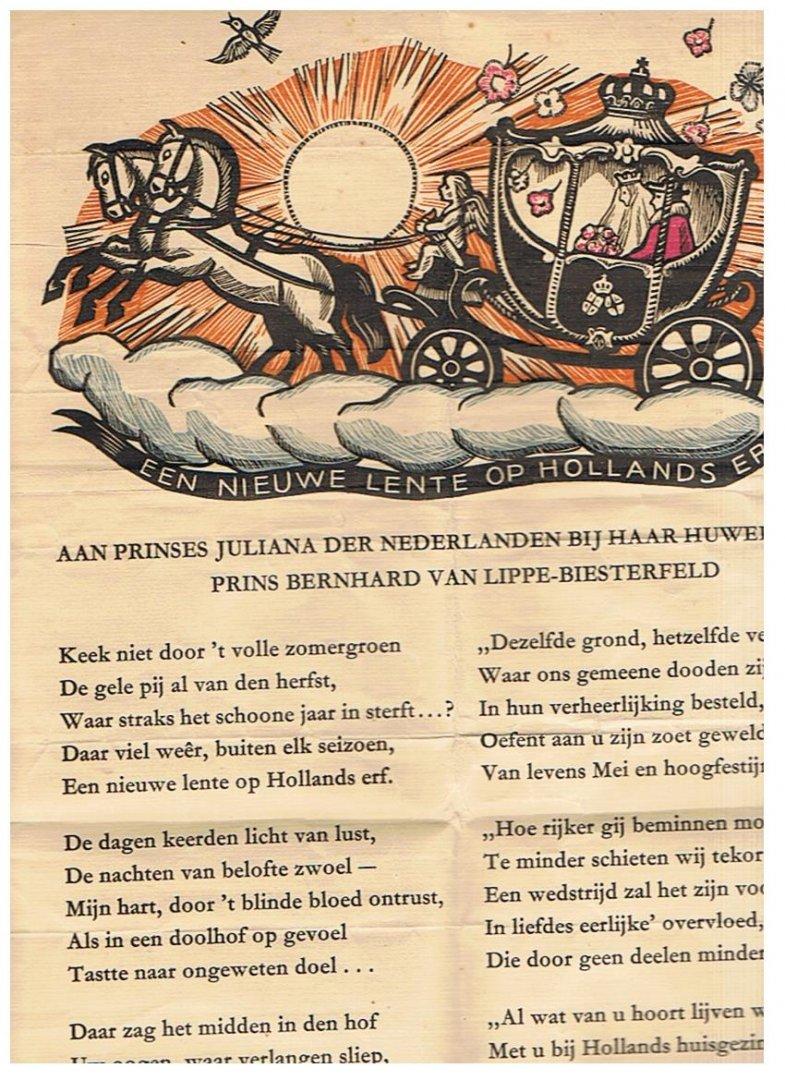 Boutens, PC en Vossen, A. van der (houtsnede) - Een nieuwe lente op Hollands erf - rijmprent uitgereikt bij het huwelijk van Prinses Juliana