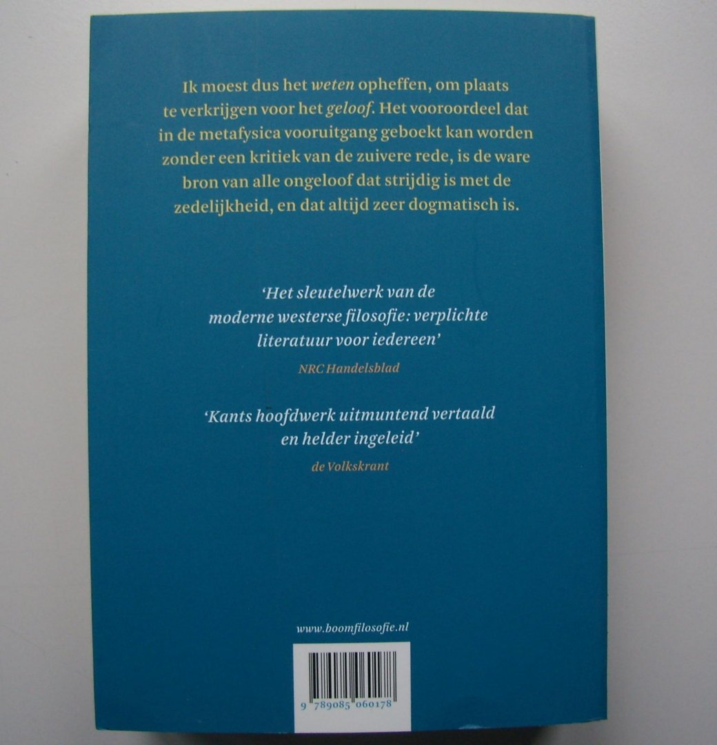 Boekwinkeltjesnl Kant Immanuel Kritiek Van De Zuivere Rede