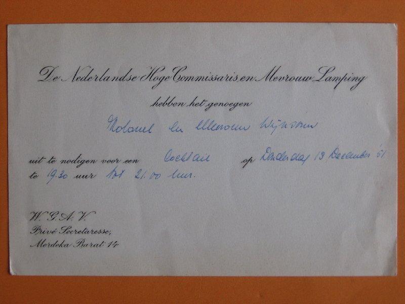 - Uitnodiging Nederlandse Hoge Commissaris, Djakarta