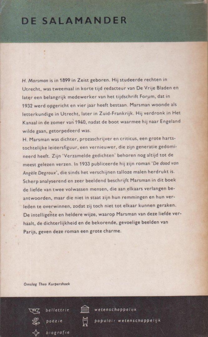 Marsman (Zeist, 30 september 1899 - Het Kanaal, 21 juni 1940), Hendrik - De dood van Angèle Degroux