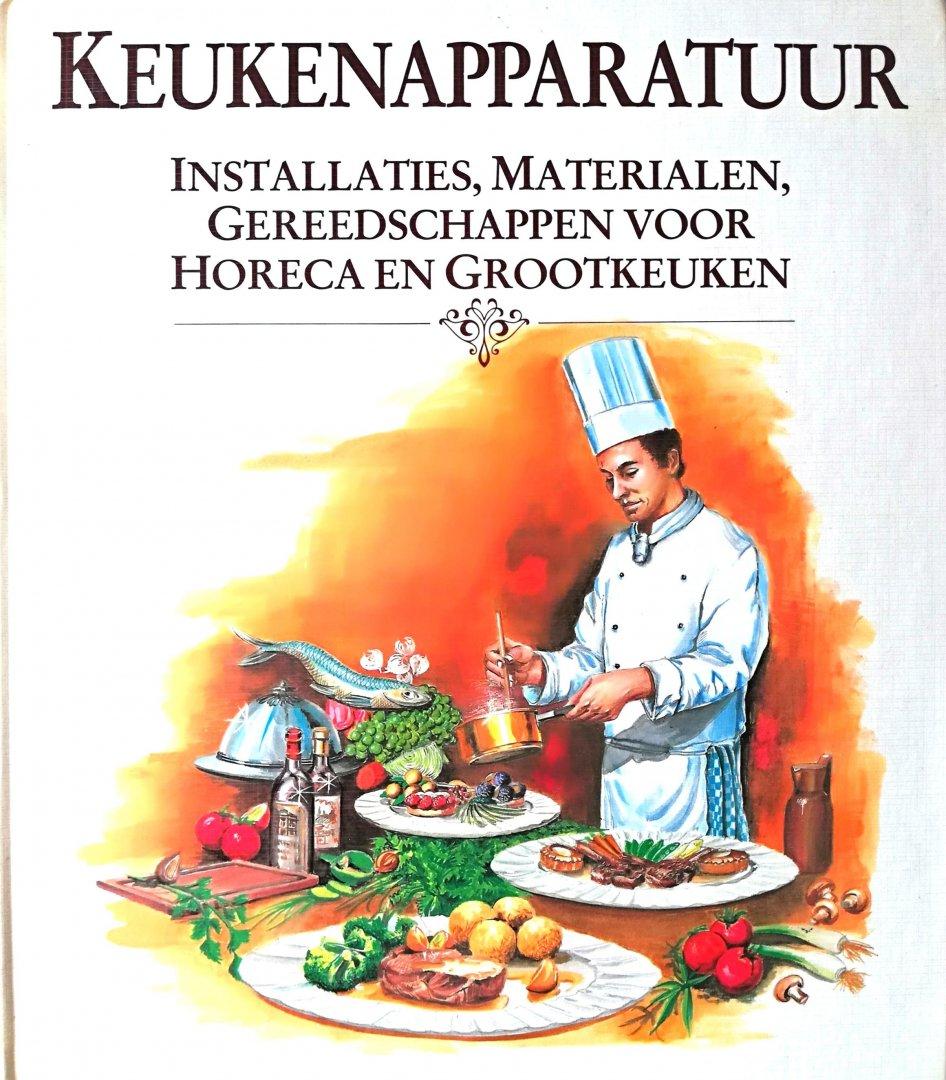 Fennema , W. J. [ ISBN 9789052110011 ] 1806 - Keukenapparatuur. ( Installaties , Materialen , Gereedschappen voor Horeca en Grootkeuken. )  Daarnaast bevat dit boek van vrijwel ieder apparaat/ machine een afbeelding. Bij het bestuderen van de verschillende apparaten krijgt men behalve kennis -