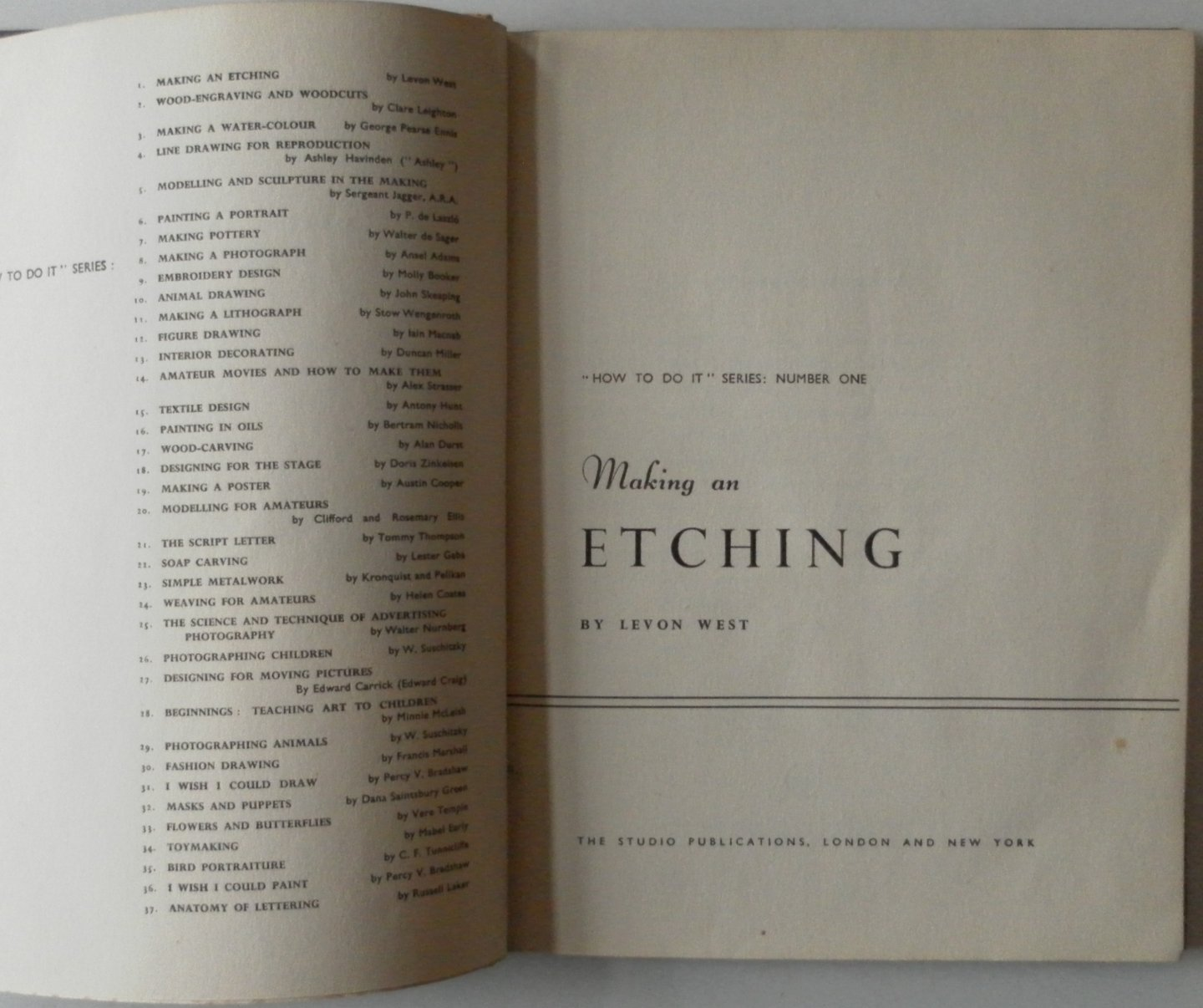 West, Levon - Making an Etching How to do it Series Number One Met los ingeplakte platen