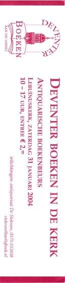 - boekenlegger: Deventer boeken in de kerk. 31 januari 2004