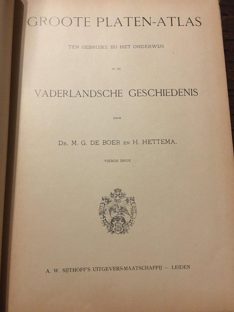 De Boer, Hettema - Groote platen-atlas, ten gebruike bij het onderwijs in de Vaderlandsche geschiedenis