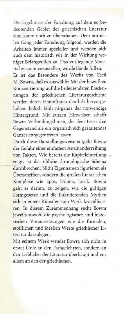 Bowra, Cecil Maurice - HÖHEPUNKTE GRIECHISCHER LITERATUR. Von Homer zu Theokrit