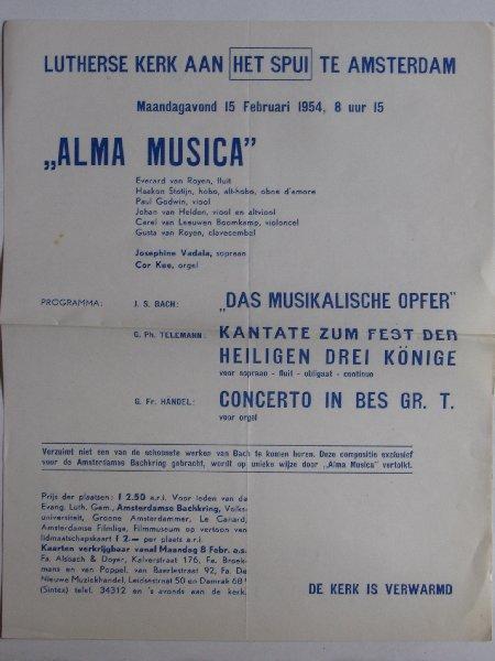 Folder - Alma Musica, Lutherse Kerk, Spui