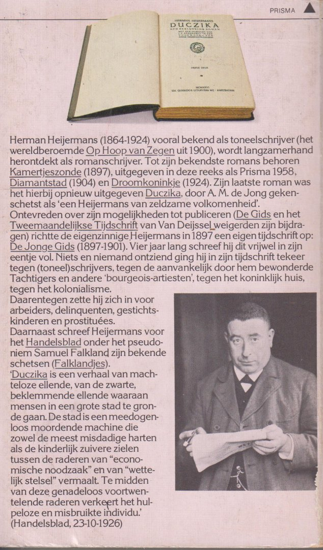 Heijermans (December 3, 1864, Rotterdam - November 22, 1924, Zandvoort), Herman - Duczika. Een Berlijnse roman. Met een inleiding van J.F. Ankersmit en een voorwoord van Annie Heiijermans - Jurgens.