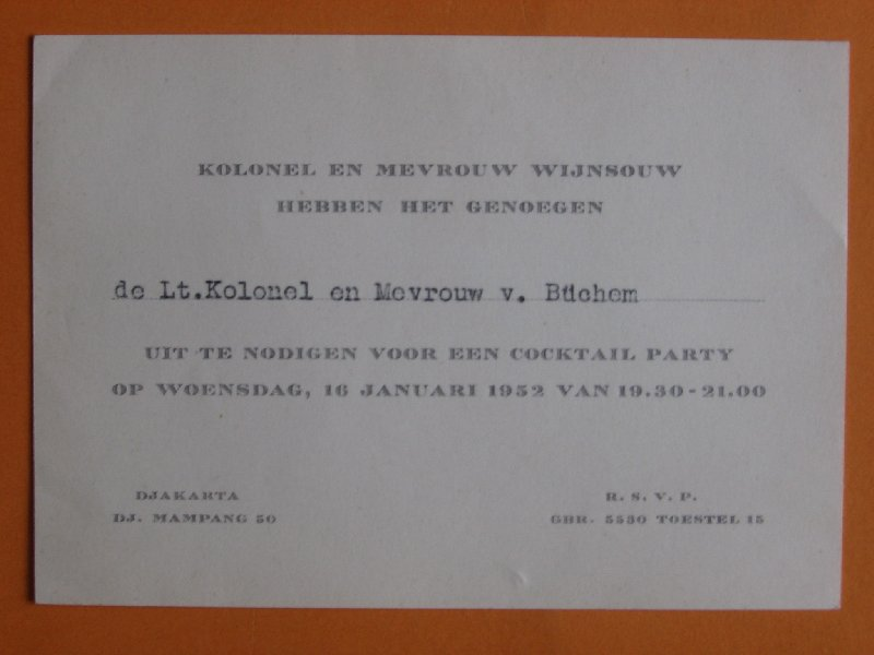 - Uitnodiging van de Nederlands Militair Attaché, Djakarta