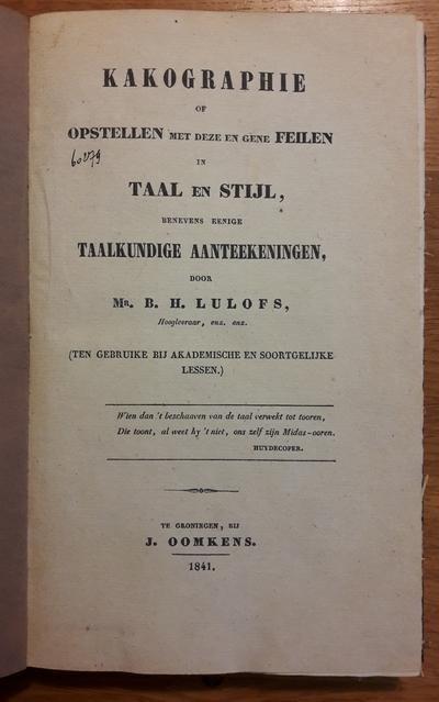 Lulofs, Mr. B.H. - Kakographie