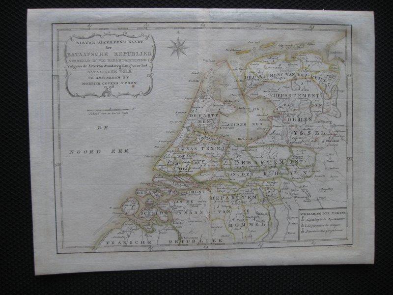 Covens en Mortier kaart landkaart Holland Nederland - Gravure kopergravure Nieuwe Algemeene Kaart der Bataafsche Bataafse Republiek verdeeld in VIII departementen 1798. Zeldzaam en oudgekleurd. landkaart kaart
