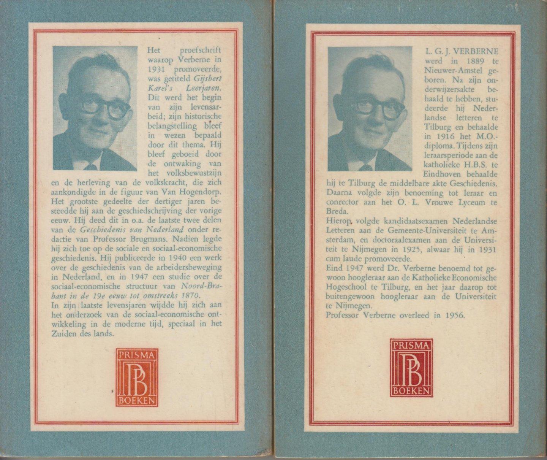 Verberne, Prof. dr L.G.J. - Geschiedenis van Nederland in de jaren 1850-1925 I en II - compleet. Geillustreerd met een verantwoording door Prof. dr L.J. Rogier.