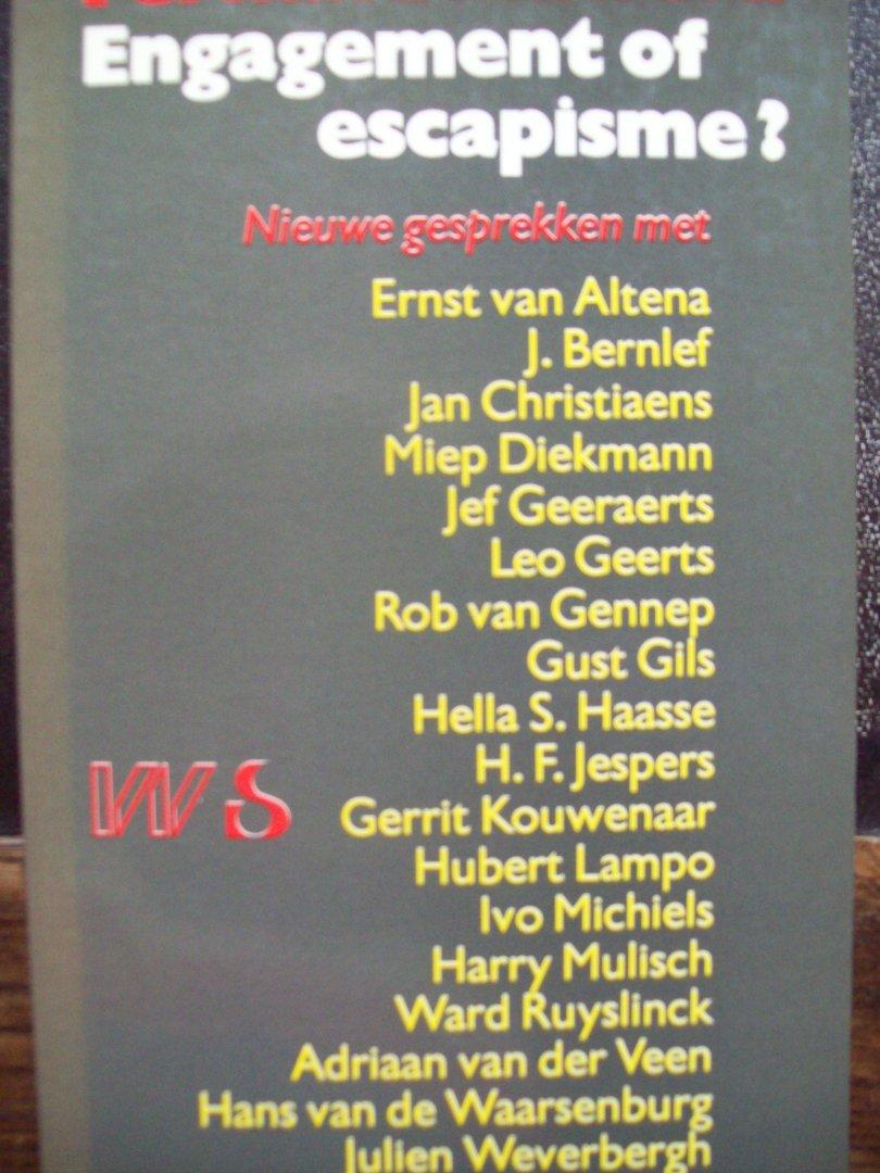 """Fernand Auwera - """"Engagement of escapisme ? """"  Gesprekken met o.a. Jef Geeraerts, Harry Mulisch en Hella Haase."""