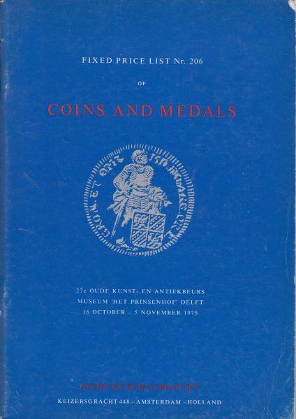 Fa. J. Schulman - Schulman Fixed Price List 206 Coins and Medals 16 october - 5 november 1975 t.g.v. de 27e Oude Kunst- en Antiekbeurs in Delft