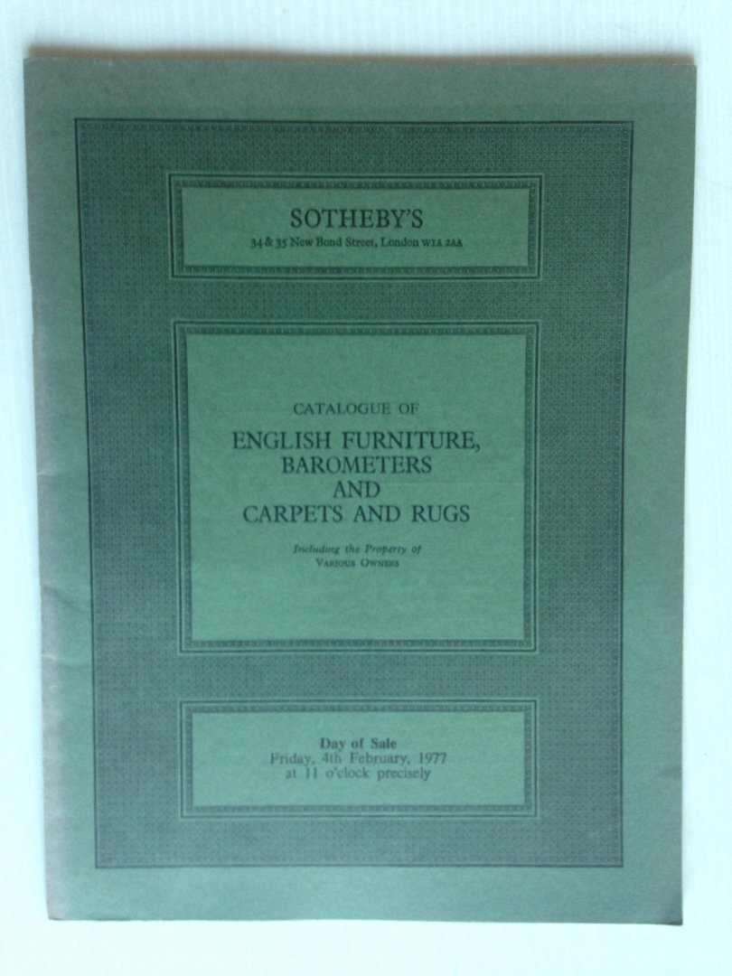 Catalogue Sotheby - English Furniture, Barometers, Carpets and Rugs