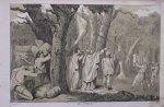 antique print (prent) - Het heilig bosch wordt omgehouwen.