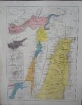 antique map (kaart). - Map of the Holy Land. Syria. Cyprus. (during the crusades).