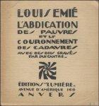 Emié, Louis / Jan Cantré - Abdication des Pauvres et Le Couronnement des Cadavres avec des bois gravé par Jan Cantré.