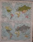 antique map (kaart). - (Deutschland) Deutscher Welthandel. (World trade map of Germany).