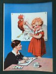 - Animal  Drawings. Blue colouring book where a girl is colouring a chicken and a boy an elephant