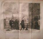 antique print (prent) - (Den Haag). `s Lands advokaat, Joan van Oldebarneveldt op `t hofschavot in den Haage (..).