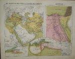 antique map (kaart). - Het perzische rijk voor Alexander de Grote. Aegyptus. (egypte).