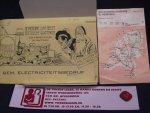 Reclamebureau - kaart Gem. Eletriciteitsbedrijf - De Moderne Sint Geeft Electrische Geschenken / infoboekje electriciteitvoorziening in nederland 1975