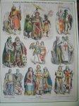 antique print. (prent). - Kostume in dem Marchen vom Grafen fon Steichen und seinen beiden Frauen. Munchener Bilderbogen.