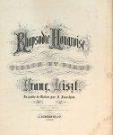 Liszt, Franz: - Rhapsodie Hongroise pour violon et piano. La partie de violon par J. Joachim