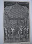 antique print (prent) - I. Reg. Cap. VI. Interna sanctissimi structura. I. Buch der Kon. Cap VI. Inwendiges Aussehen des Allerheiligsten.