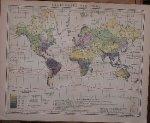 antique map (kaart). - Regenkarte der Erde. (World Map Rainfall).