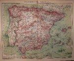 antique map (kaart). - Spanien und Portugal.