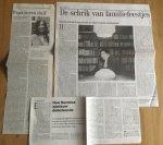 Graaf, Hermine de - Aantal (3) knipsels over Mijn moeder en de duif, 2002