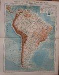 antique map (kaart). - Physikalische Karte von Amerika. II. Sudamerica. (South America).