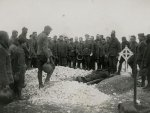 WORLD WAR I. - A burial service at the front. Funeral of Major E.L.Knight, Eato Motor Machine Gun Company.
