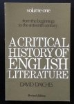 Daiches, David - A critical history of English literature, from the beginnings to the sixteenth century, volume 1