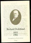 Dedekind, Richard, 1831-1916., Scharlau, Winfried. - Richard Dedekind, 1831-1981 : eine Würdigung zu seinem 150. Geburtstag