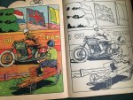 - colouring book with 6 full page illustrations in colour of a bicycle, horse wagon, scooter, motorbike, helicopter, airplane.