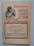 Diverse auteurs - Philobiblon. Eine Zeitschrift für Bücherfreunde. A magazine for book-collectors. 5 Jahrgang, heft 10, 1932