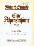Strauss, Richard: - Eine Alpensinfonie Op. 64. Handpartitur
