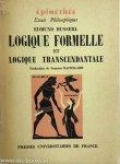 HUSSERL, E. - Logique formelle et logique transcendentale. Traduit de l'Allemand par Suzanne Bachelard.