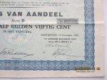 Koninklijke Hollandsche Lloyd (KHL) - Bewijs van Aandeel  Groot twaalf gulden vijftig cent, gedateerd Amsterdam, 19 november 1932