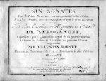 Roesser, Valentin: - Six sonates pour le piano forte, avec accompagnement d`un violon et six ariettes, avec accompagnement pour le même instrument. Oeuvre XIe