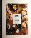 Schori , Ithai . & Chris Taylor . [ ISBN 9780385345286 ] 3719 - Twenty Dinners . ( And Everything in Between . ) A photographer (who happens to be an ex-restaurant cook) and an indie rock star (who happens to be an avid home cook) show you how to slow down your life by cooking beautiful, straightforward, -