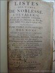 N/A. - LISTES DES TITRES DE NOBLESSE, CHEVALERIE ET AUTRES MARQUES D' HONNEUR.