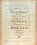 Bedard, Jean Baptiste: - Variations sur l`Air: God save the king, pour le violon