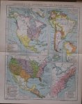 antique map (kaart). - Geschichtliche Entwickelung der Staaten Amerikas. (History of the Americas).